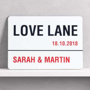 Personalised Love Lane Wall Art Sign