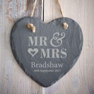 Personalised Mr & Mrs Slate Heart