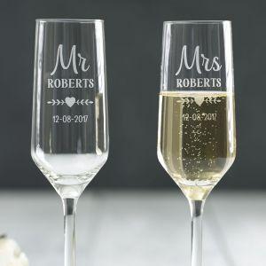 Personalised Mr & Mrs Champagne Flute Set