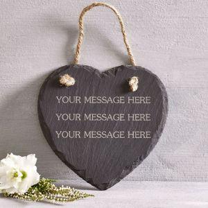 Personalised Hanging Slate Heart