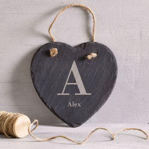 Personalised Initial Hanging Slate Heart