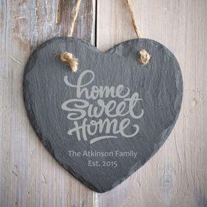 Personalised Home Sweet Home Hanging Slate Heart