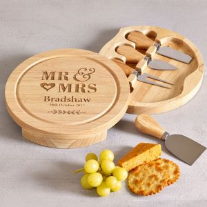 Personalised Mr & Mrs Wooden Cheese Board