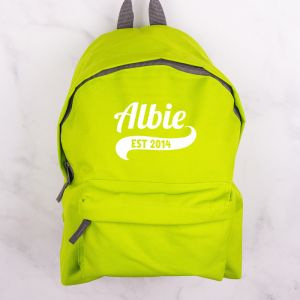 Personalised Childrens Green Backpack