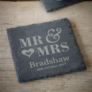 Personalised Mr & Mrs Coaster