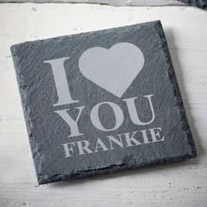 Personalised I Love You Slate Coaster