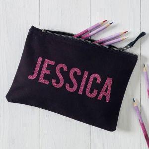 Personalised Glitter Name Black Makeup Bag