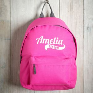 Personalised Childrens Pink Backpack