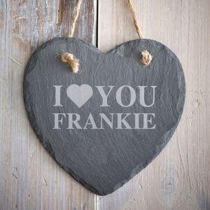 Personalised I Love You Slate Heart