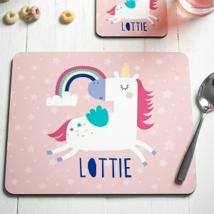 Personalised Unicorn Placemat And Coaster