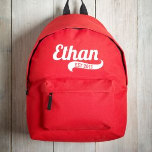 Personalised Childrens Red Backpack