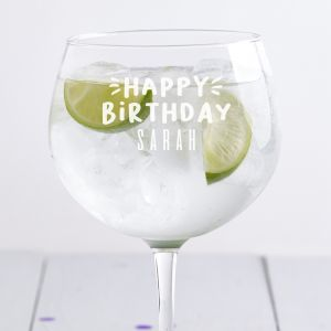 Personalised Happy Birthday Gin Glass
