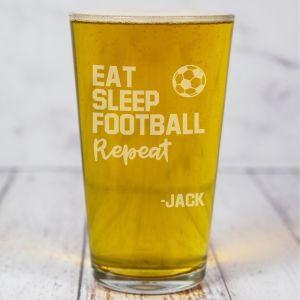 Personalised Football Pint Beer Glass