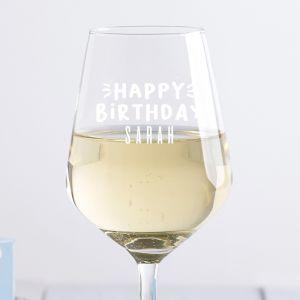 Personalised Happy Birthday Wine Glass