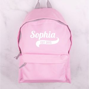Personalised Childrens Light Pink Backpack