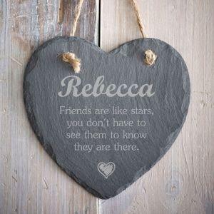 Personalised Friends Slate Heart
