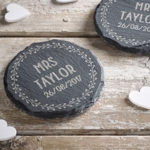 Personalised Mr & Mrs Slate Coaster Set