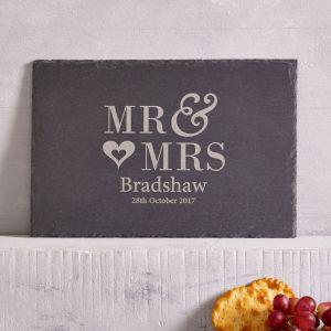 Personalised MR MRS Slate Cheese Board