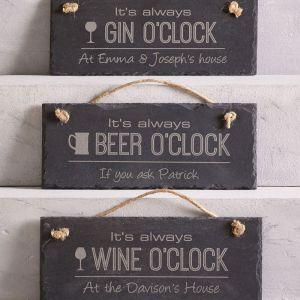 Personalised Drinks O'Clock Hanging Slate Sign