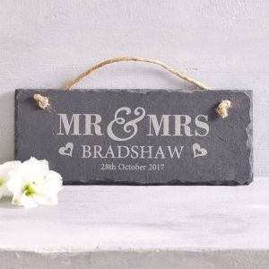 Personalised Mr & Mrs Slate Hanging Sign