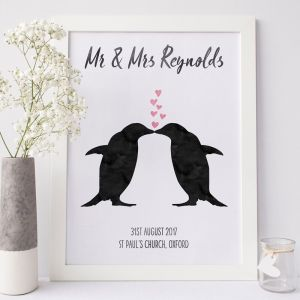 Personalised Penguin Wedding Print