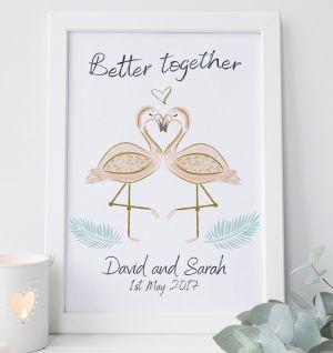 Personalised Flamingo Wedding Print