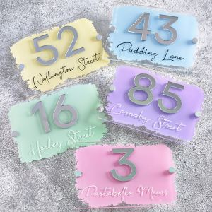 Contemporary Modern Acrylic House Sign Door Number 3D Brush Stroke