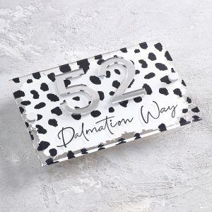 Dalmatian Acrylic House Sign Contemporary Animal Print Door Number
