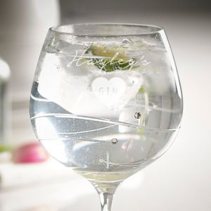 Personalised Diamante Crystal Gin Glass