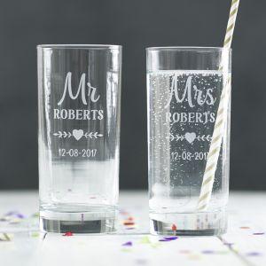 Personalised Mr & Mrs Hi Ball Glass