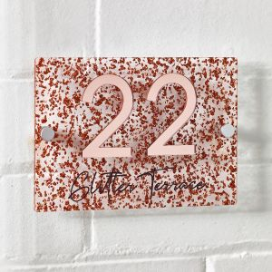 Rose Gold Glitter Contemporary Acrylic House Sign 3D Door Number Plaque