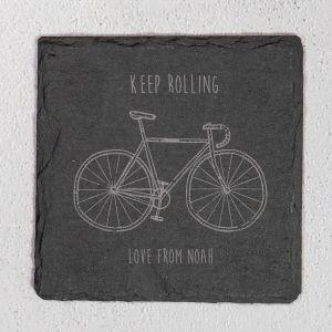 Personalised Keep Rolling Slate Coaster