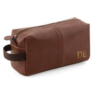 Personalised Men's Faux Leather Wash Bag