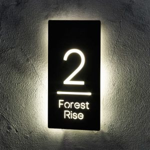 Illuminated Modern House Number Sign 15cm x 30cm