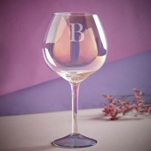 Personalised Iridescent Initial Gin Glass