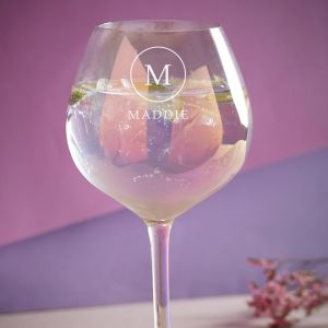 Personalised Iridescent Initial & Name Gin Glass