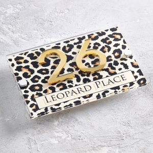 Leopard Print Acrylic House Sign Contemporary Door Number Plaque