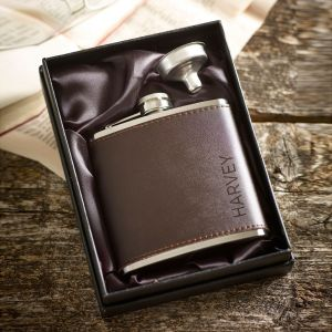 Personalised Brown Leather Name Hip Flask