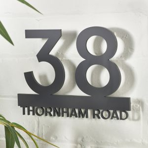Modern Contemporary Floating Acrylic House Name Number Sign