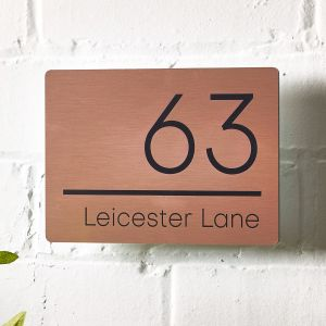 Copper Contemporary Modern House Sign Number 20cm x 14cm