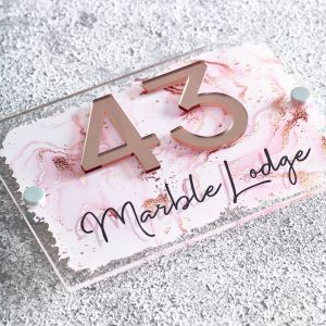 Rose Gold Marble Contemporary Acrylic House Sign Door Number Plaque