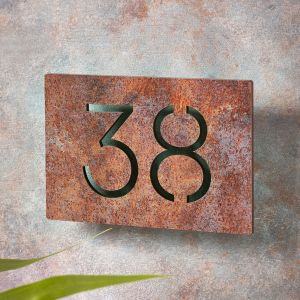 Rusty Metal Effect House Number Sign 19cm x 12cm